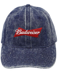 H Bar C Blue Acid Washed Budweiser Embroidered Logo Ball Cap  , Dark Blue, hi-res