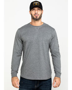 Hawx® Men's Grey Logo Sleeve Long Sleeve Work T-Shirt - Tall , Heather Grey, hi-res