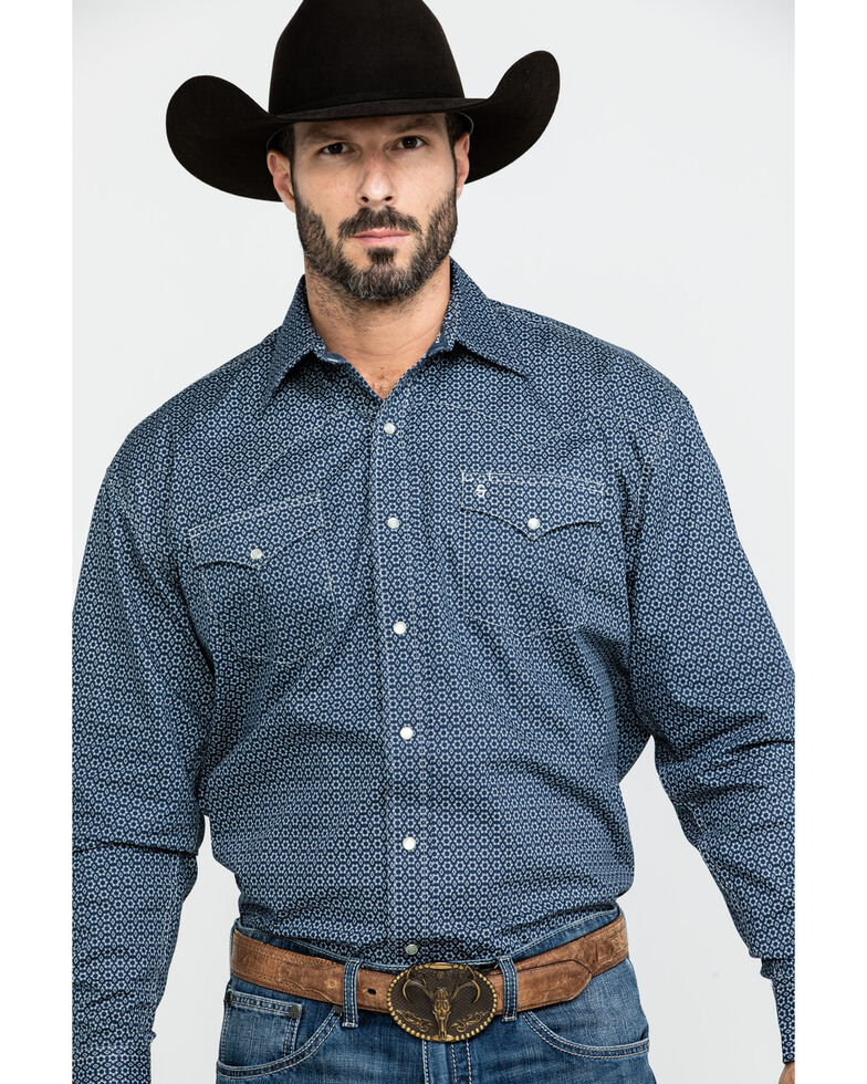 Stetson Men's Blue Geo Print Long Sleeve Western Shirt , Blue, hi-res