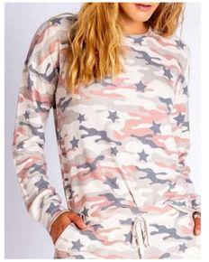 PJ Salvage Women's Oatmeal Camo Pullover Sweatshirt , Oatmeal, hi-res