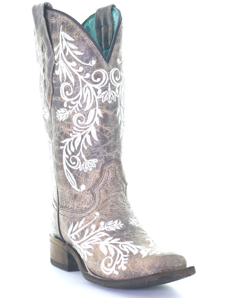 Corral Women's White Embroidery Glow Western Boots - Snip Toe, Brown, hi-res