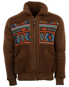 STS Ranchwear Men's Chocolate Aztec Tristan Plush Fleece Jacket , Chocolate, hi-res