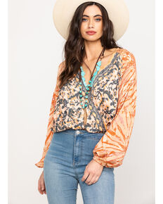 Free People Women's Cruising Together Printed Top, Natural, hi-res