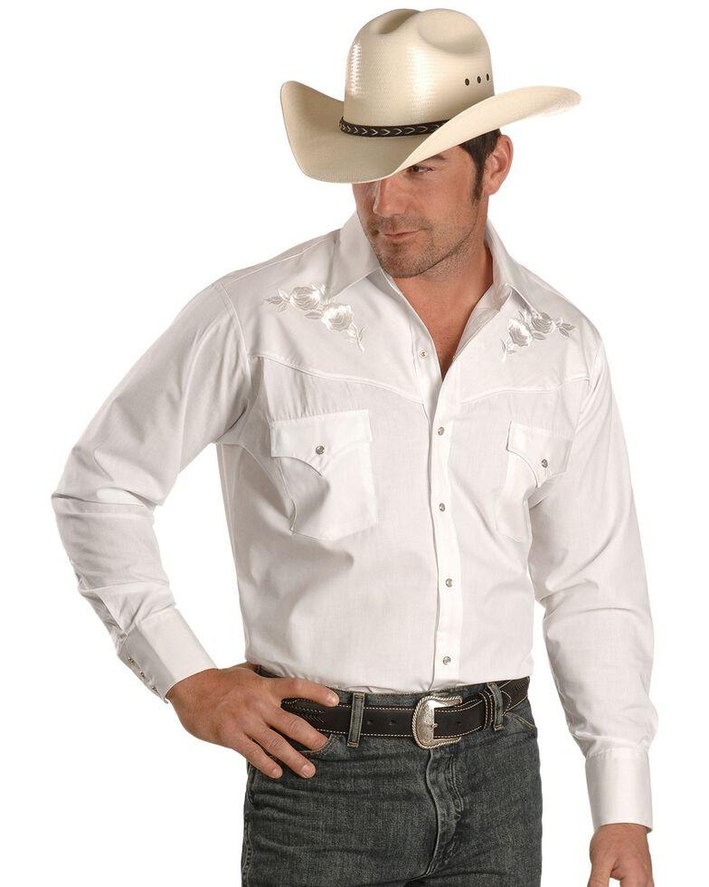 Ely Walker Men's Solid Embroidered Rose Long Sleeve Western Shirt, Snow, hi-res