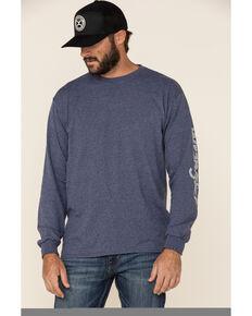 Wrangler Men's Blue Heather Logo Sleeve Long Sleeve T-Shirt , Blue, hi-res