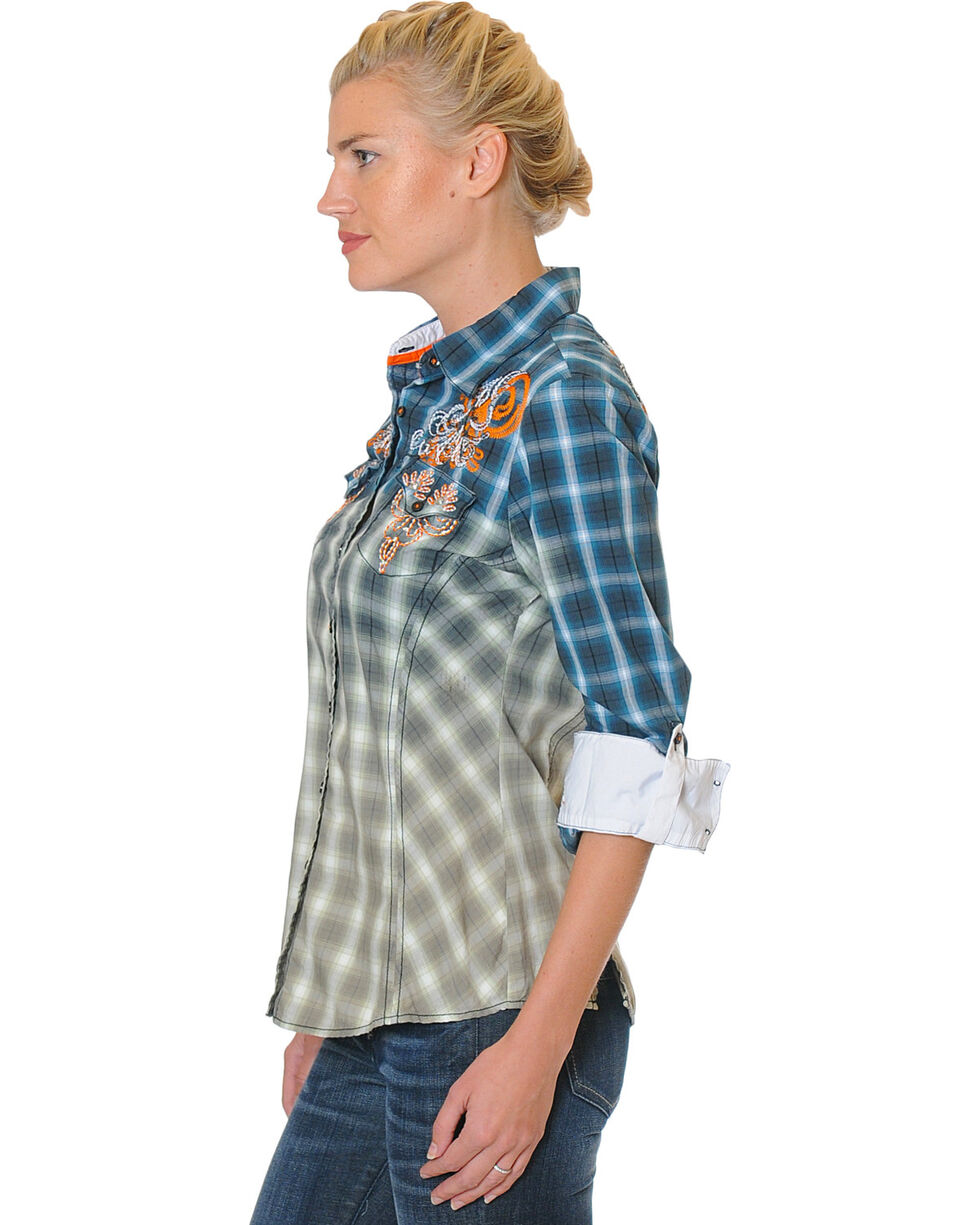 Grace in LA Women's Navy Embroidered Plaid Shirt , Navy, hi-res