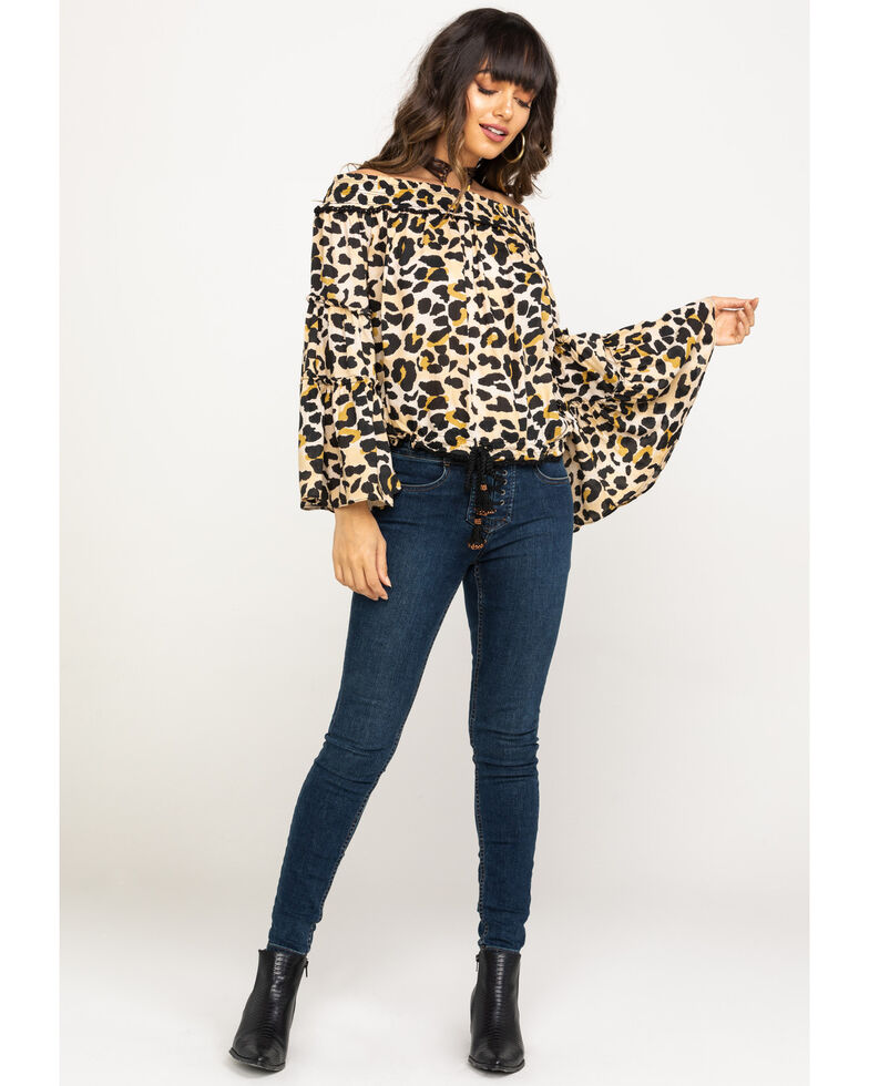 Ocean Drive Women's Leopard Off The Shoulder Top, Leopard, hi-res