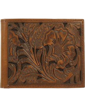Ariat Men's Floral Embossed Bi-Fold Wallet, Brown, hi-res