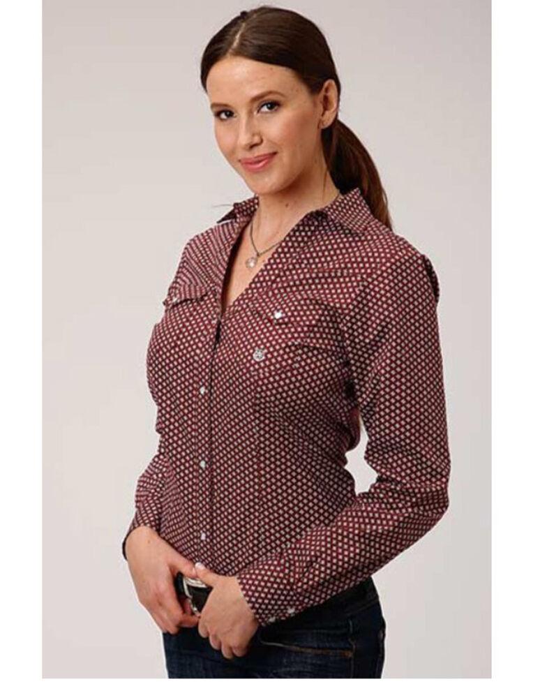 Amarillo Women's Red Ridge Burgundy Geo Print Long Sleeve Western Shirt, Burgundy, hi-res