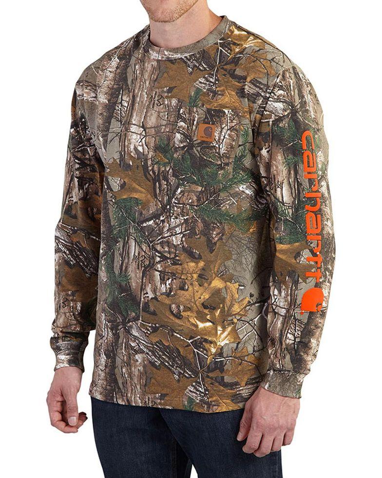 Carhartt Men's Mossy Oak Camo Logo Long Sleeve Work T-shirt - Tall , Camouflage, hi-res