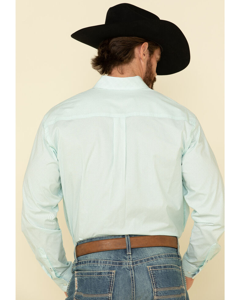Cinch Men's Light Blue Stretch Geo Print Long Sleeve Western Shirt - Big , Light Blue, hi-res
