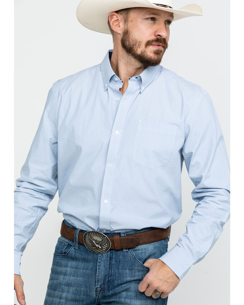 Cody James Core Men's Pinpoint Dobby Geo Print Long Sleeve Western Shirt - Big, Blue, hi-res