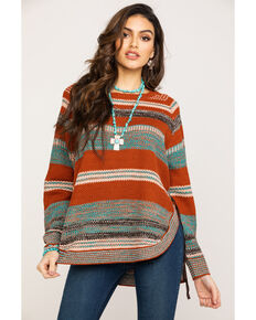 Wrangler Women's Rust Stripe Sweater, Rust Copper, hi-res