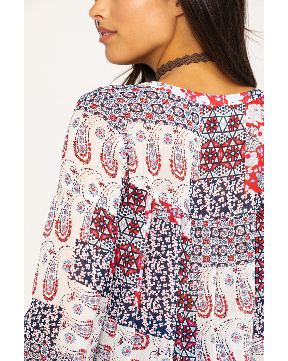 Ariat Women's Tracey Patchwork Blouse , Red, hi-res