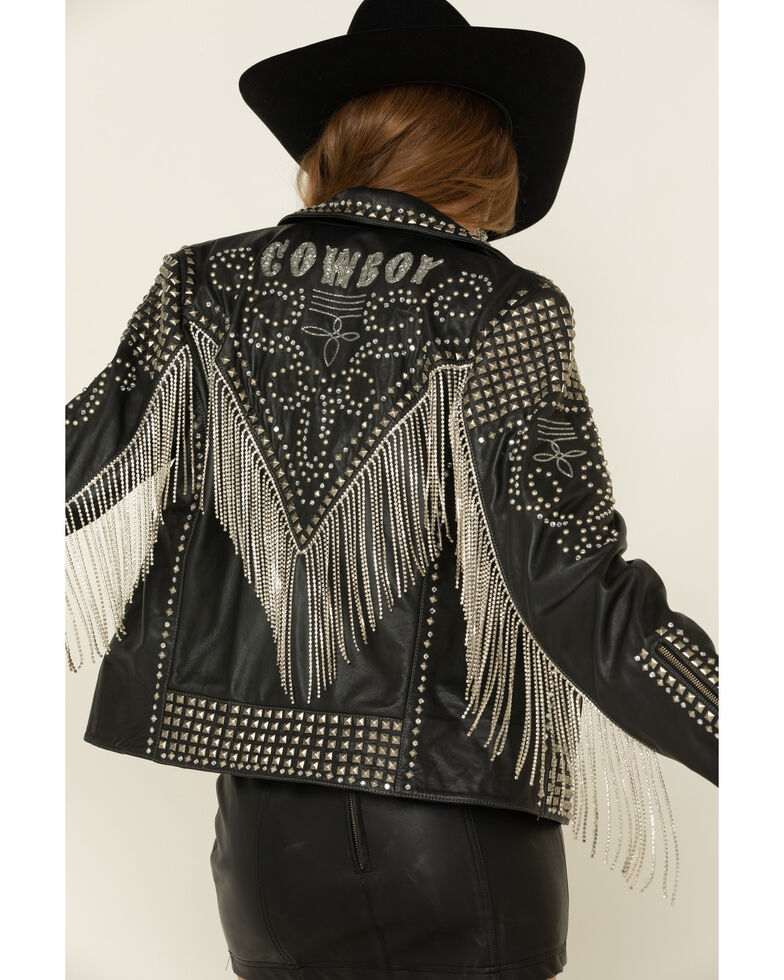 Double D Ranch Women's Black Rhinestoned Cowboy Jacket , , hi-res