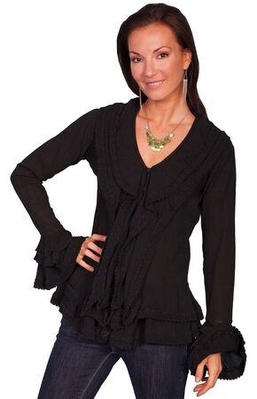 Scully Ruffle Front Long Sleeve Top, Black, hi-res