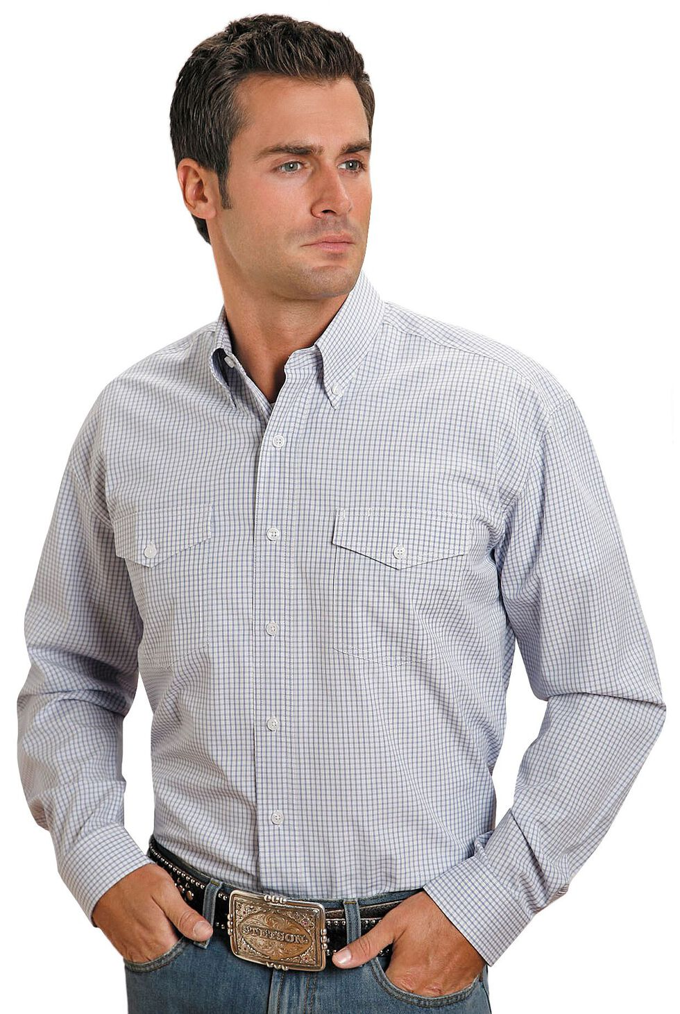 Stetson Plaid Check Button Shirt, Blue, hi-res