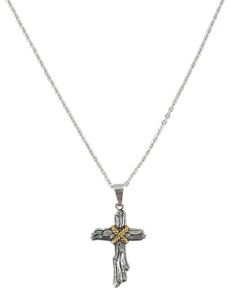 Moonshine Spirit Men's Roped Wood Cross Necklace, Silver, hi-res