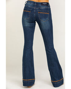 Grace in LA Women's Leopard Trim Trouser Flare Jeans, Blue, hi-res