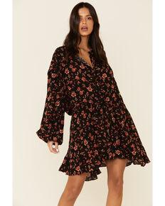 Free People Women's Flower Fields Mini Dress, Black, hi-res