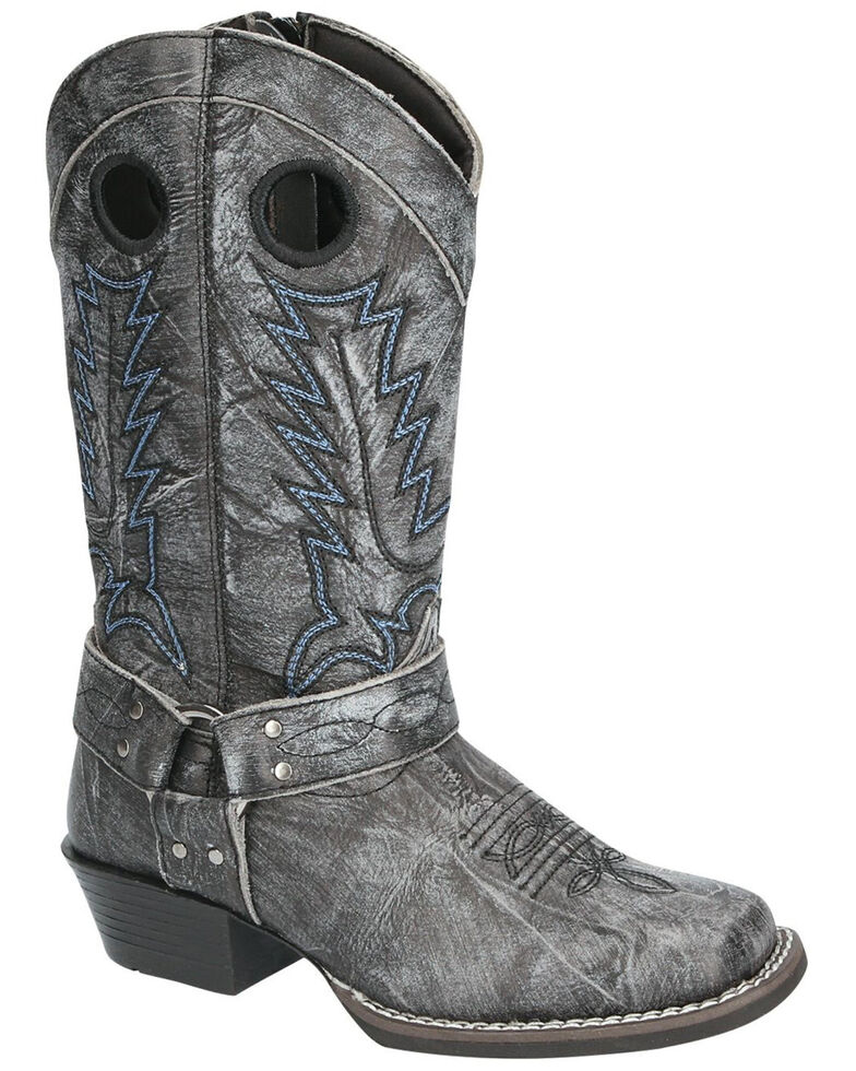 Smoky Mountain Youth Girls' Redwood Western Boots - Square Toe, Black, hi-res