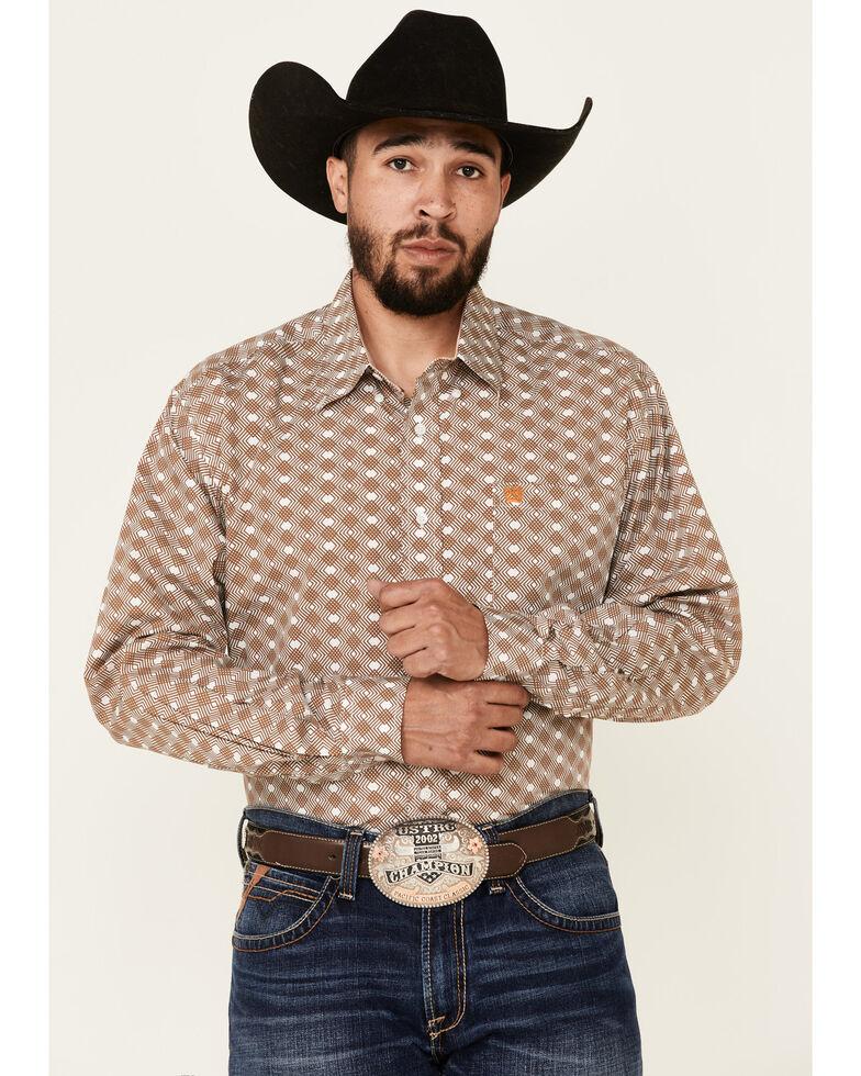 Cinch Men's Grey Weaved Print Long Sleeve Button-Down Western Shirt , Grey, hi-res