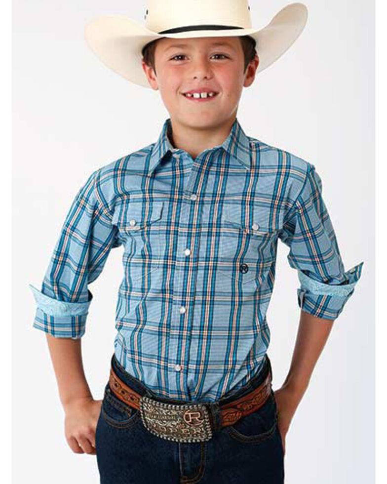 Roper Boys' Amarillo Cold Creek Plaid Long Sleeve Western Shirt , Turquoise, hi-res