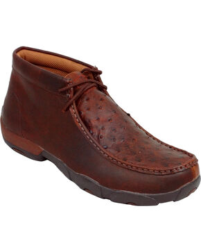 Twisted X Men's Full-Quill Ostrich Driving Mocs, Saddle Brown, hi-res