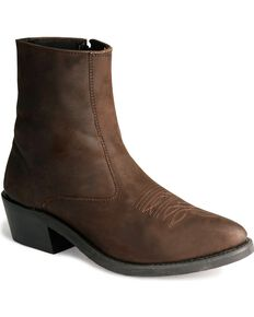 Old West Men's Zipper Western Ankle Boots, Distressed, hi-res
