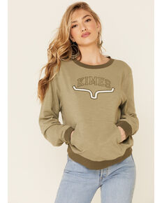 Kimes Ranch Women's Sage Upside Crew Long Sleeve Pullover Top, Sage, hi-res