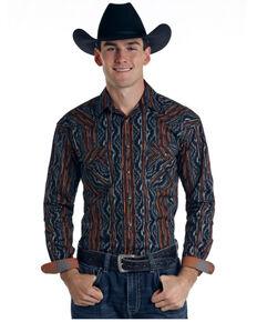 Rough Stock By Panhandle Men's Caseros Aztec Stripe Long Sleeve Snap Western Shirt , Black, hi-res