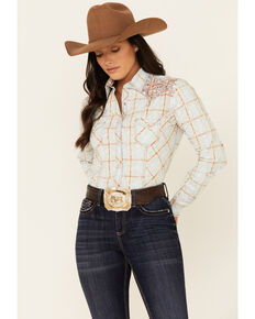 Rough Stock By Panhandle Women's Multi Plaid Embroidered Long Sleeve Snap Western Core Shirt , Multi, hi-res