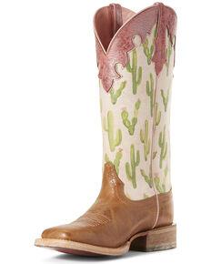 Ariat Women's Fonda Cactus Print Western Boots - Wide Square Toe, Tan, hi-res