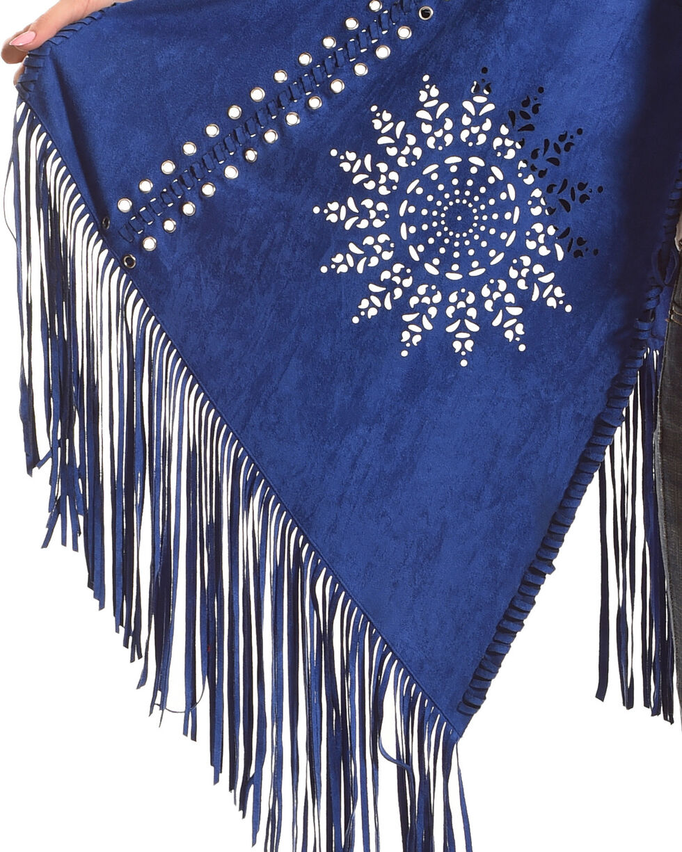 Tesoro Moda Women's Royal Blue Fringe Shawl , Royal Blue, hi-res