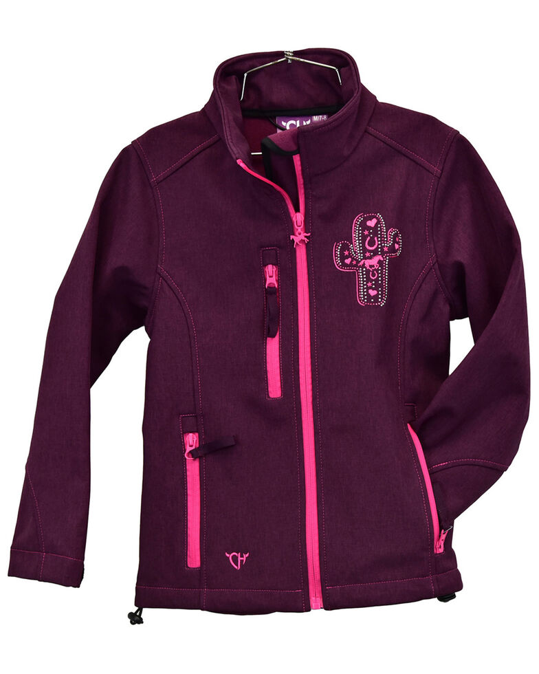 Cowgirl Hardware Infant Girls' Burgundy Embroidered Cactus Zip-Front Softshell Jacket , Burgundy, hi-res