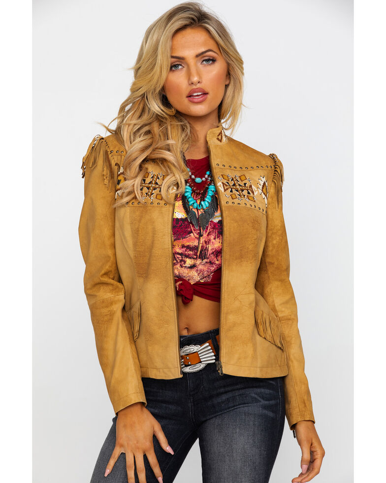 Scully Women's Aztec Buckskin Beaded Fringe Jacket , , hi-res