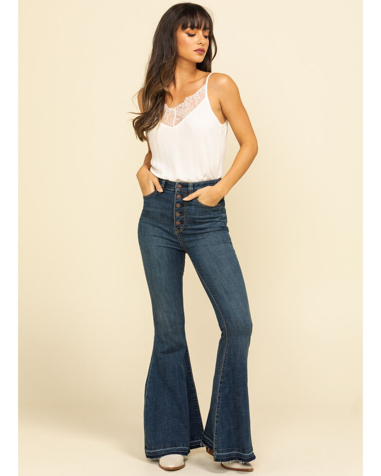 Free People Women's Irreplaceable Flare Jeans  , Blue, hi-res