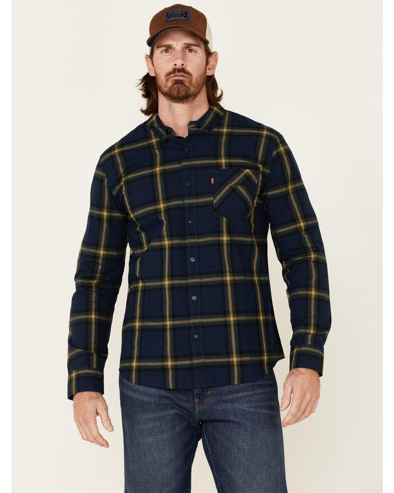 Levi's Men's Navy Austen Large Plaid Long Sleeve Western Flannel Shirt , Navy, hi-res