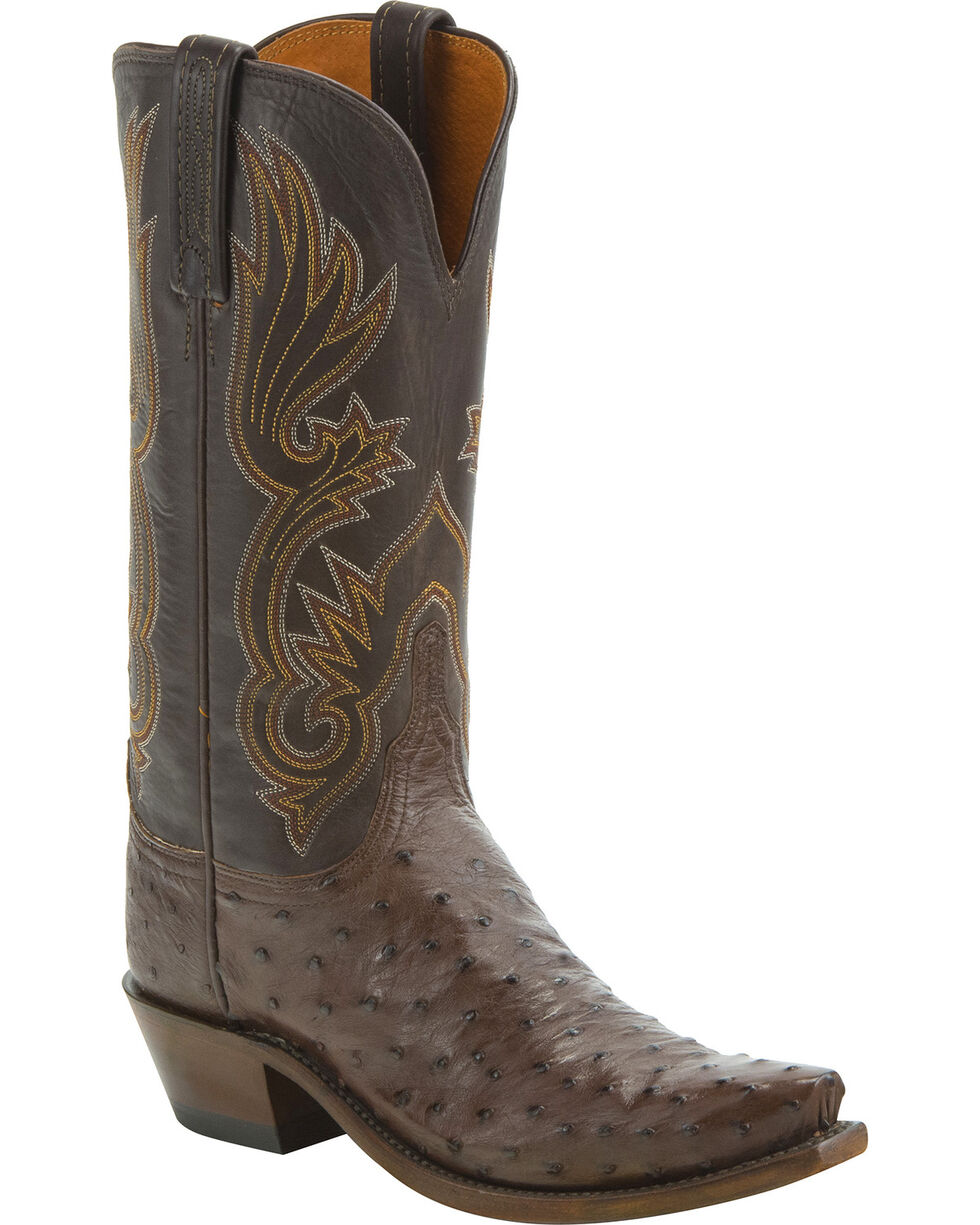 Lucchese Women's Handmade Dolly Full Quill Ostrich Western Boots - Snip Toe, Tan, hi-res