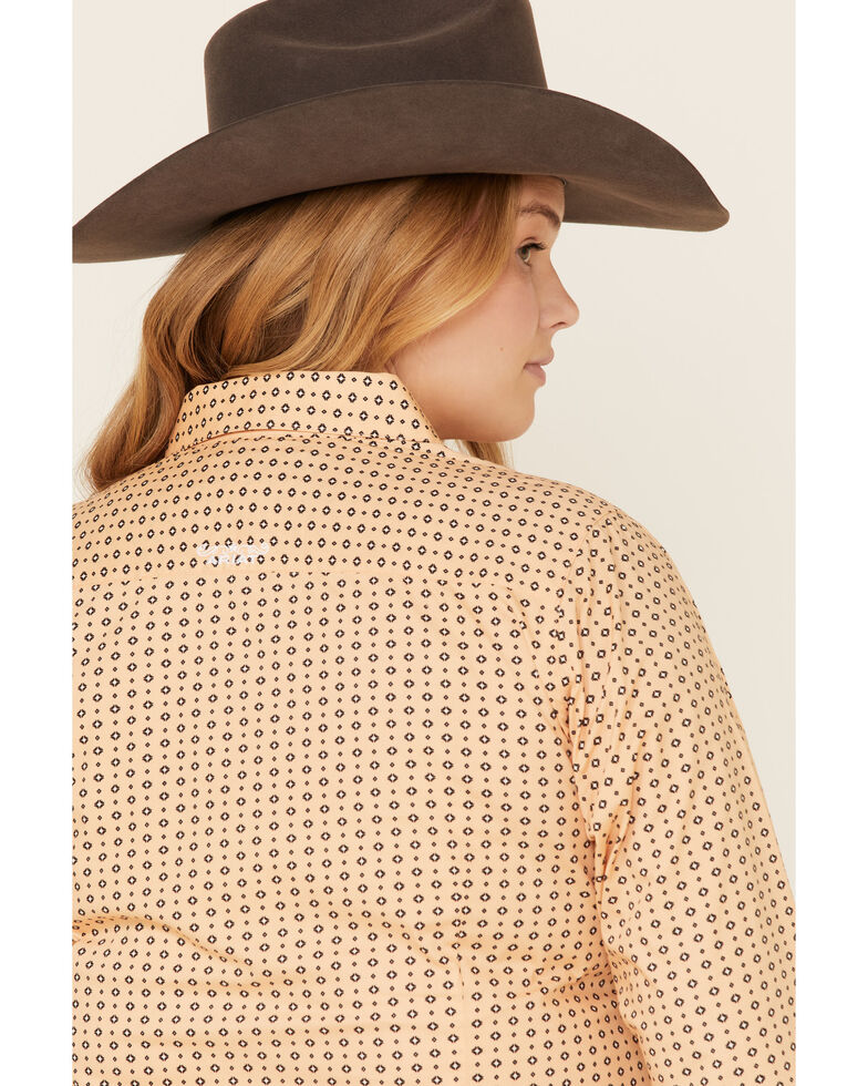 Ariat Women's Peach Geo Print Kirby Long Sleeve Western Shirt - Plus, Peach, hi-res