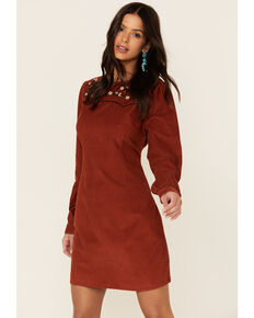 Wrangler Women's Shift Floral Embroidery Dress, Rust Copper, hi-res