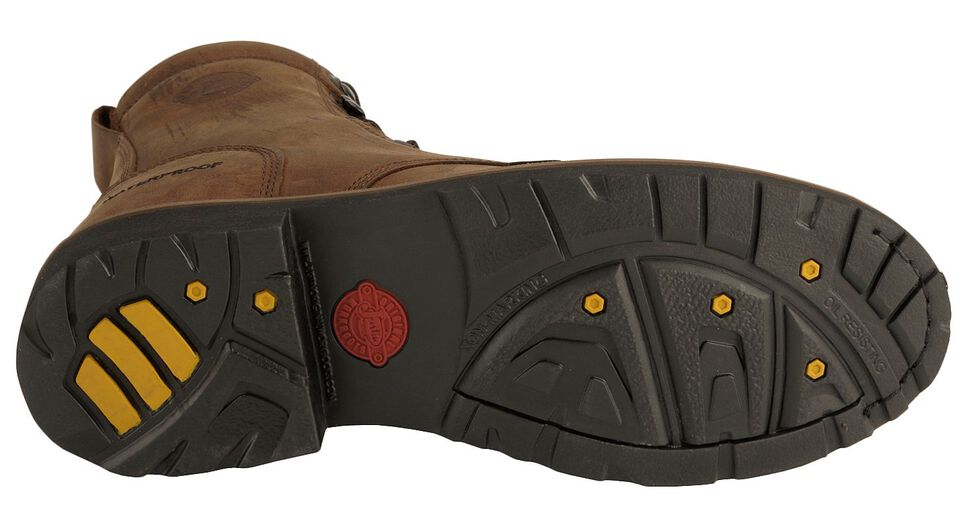 """Justin Men's 8"""" Drywall EH Waterproof Work Boots - Steel Toe, Brown, hi-res"""