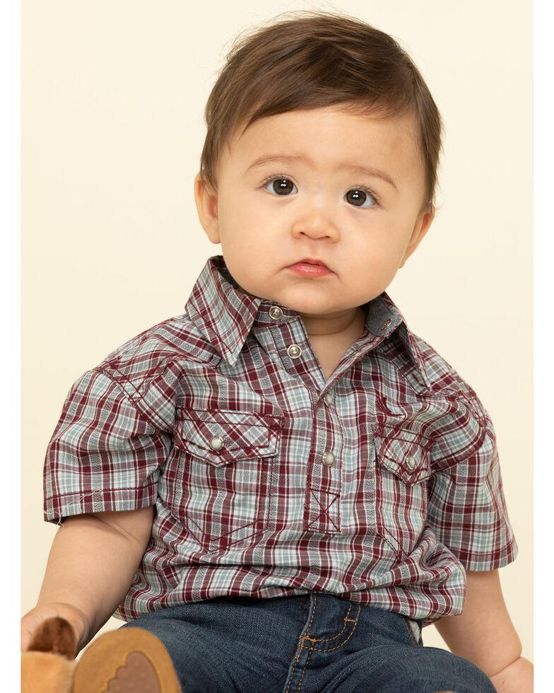 Cody James Infant Boys' Static Small Plaid Short Sleeve Onesie , Olive, hi-res