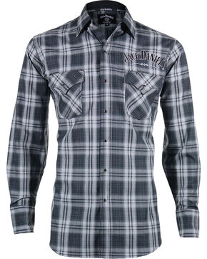 Jack Daniels Men's Black Plaid Logo Western Snap Shirt , Grey, hi-res