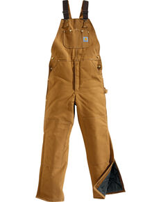 Carhartt Arctic Quilt Lined Duck Bib Work Overalls, Brown, hi-res