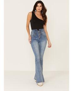 Rock & Roll Denim Women's Yoke Front Flare Leg Jeans, Blue, hi-res