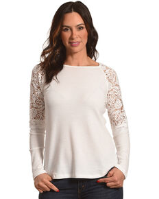 24d47e43bbc8ca Cowgirl Up Women's Lace Shoulders Long Sleeve Top