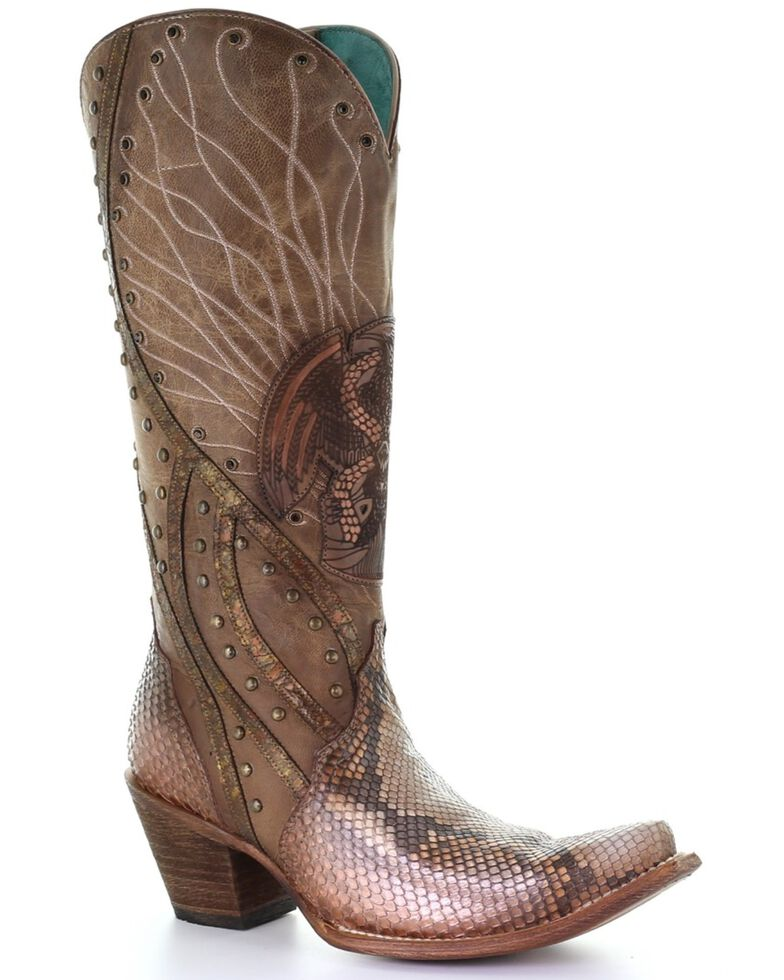Corral Women's Orix Python Laser Embroidered Western Exotic Boots - Snip Toe, Multi, hi-res