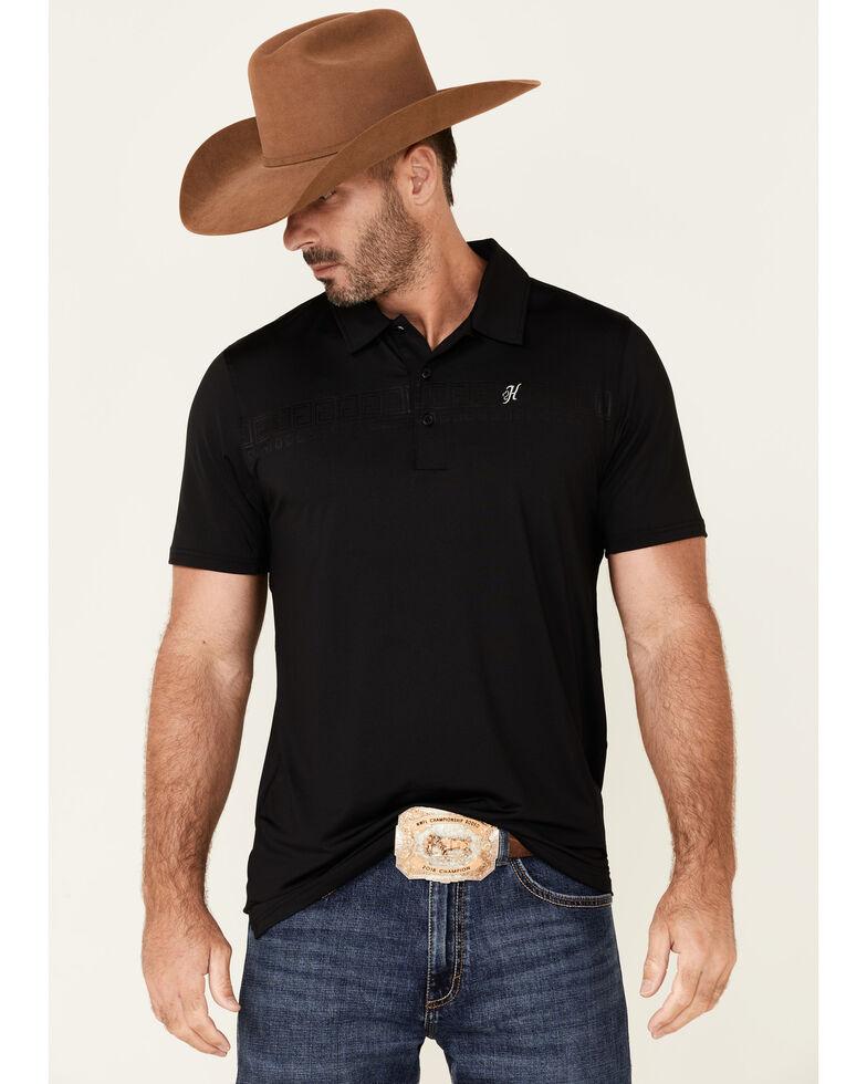 HOOey Men's Cowboy Golf Print The Weekender Short Sleeve Polo Shirt , Black, hi-res