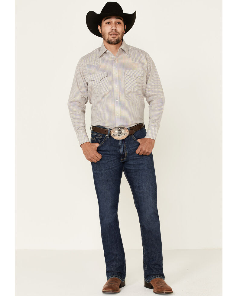 Ely Walker Men's Assorted Small Check Plaid Snap Long Sleeve Western Shirt - Tall, Beige/khaki, hi-res